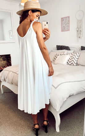 TIE STRAP BEACH DRESS IN WHITE by Aftershock London