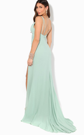 Strappy Mint Maxi Dress with Thigh High Slit by KRISP