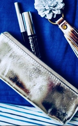 Silver Metallic Leather Small Makeup/Pencil/Reading glass Pouch by hydestyle london