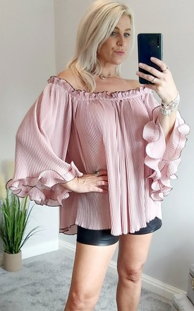Off The Shoulder Pleated Top In Pink by FOXY FROX