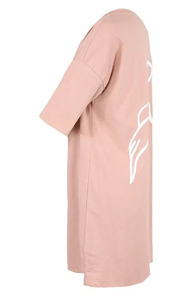 Pink Angel Wing & Halo Baggy Oversize T-Shirt Dress by Azzediari Clothing