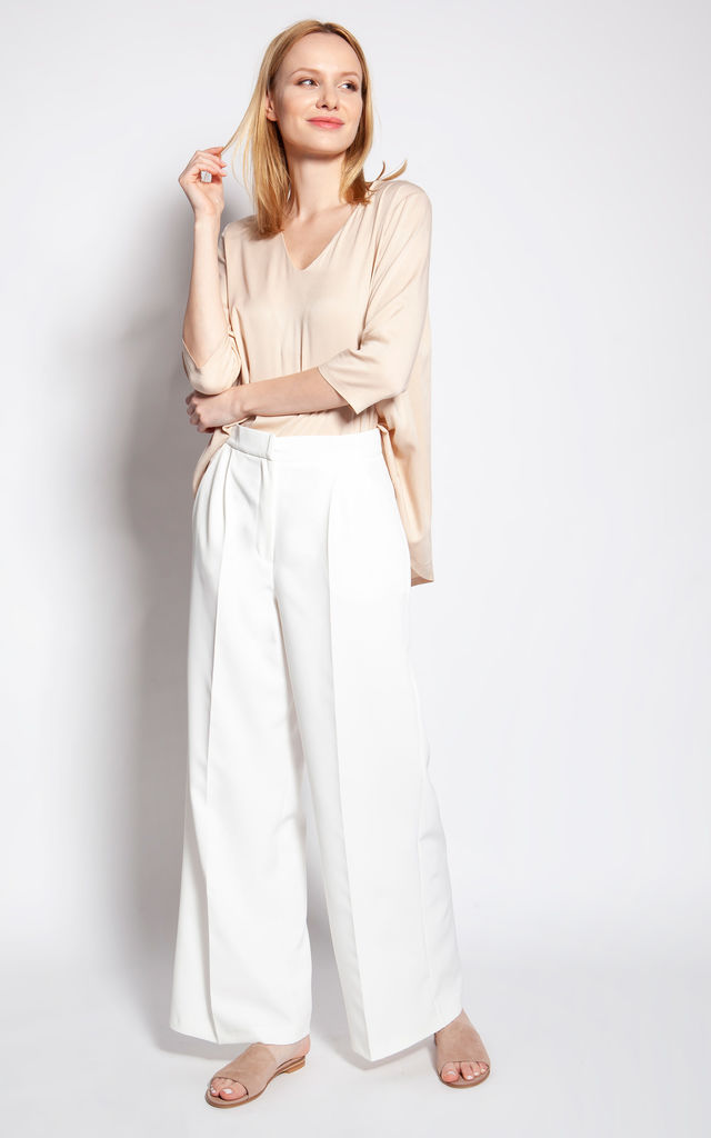 Wide Leg Trousers with High Waist in White by Lanti