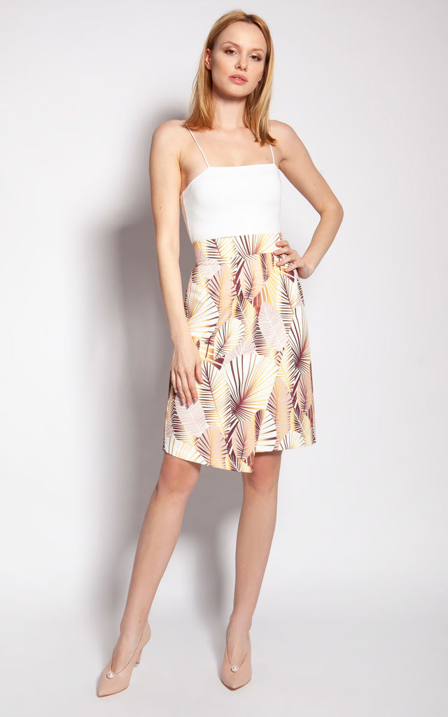 Fitted Wrap Skirt in Beige Floral Print by Lanti