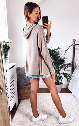 Zip up Hoody With Bling Sleeves in Taupe by Malissa J Collection