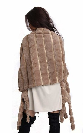 SOFT FAUX FUR WRAP SHAWL  PONCHO IN MOCHA by LOES House