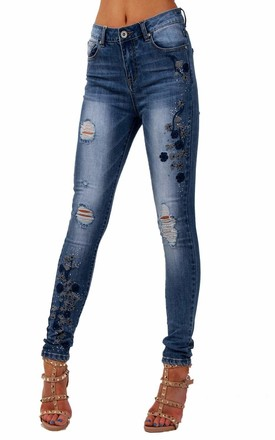 HIGH WAIST FLORAL EMBROIDERED DIAMANTE DETAIL SKINN IN BLUEY JEAN by LOES House
