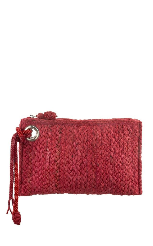 IZZY Red Straw Clutch Bag by Pink Waters Resort