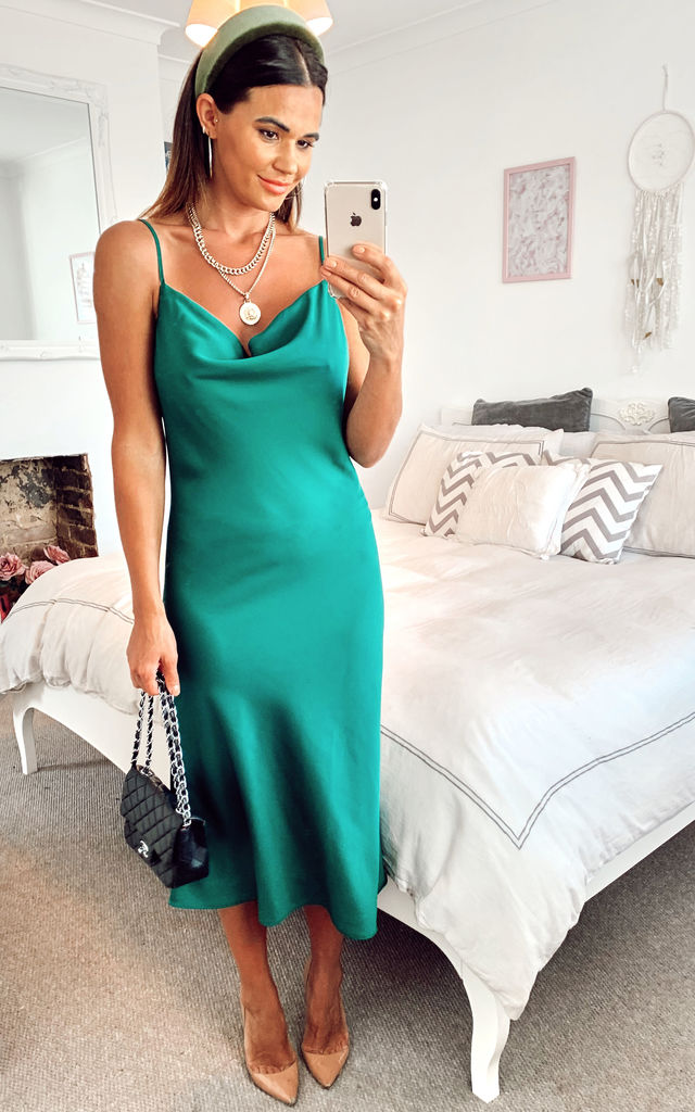 Cowl Neck Satin Slip Cami Midi Dress in Forest Green by HOXTON GAL
