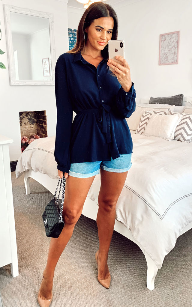 Navy Oversized Shirt with belt by HOXTON GAL