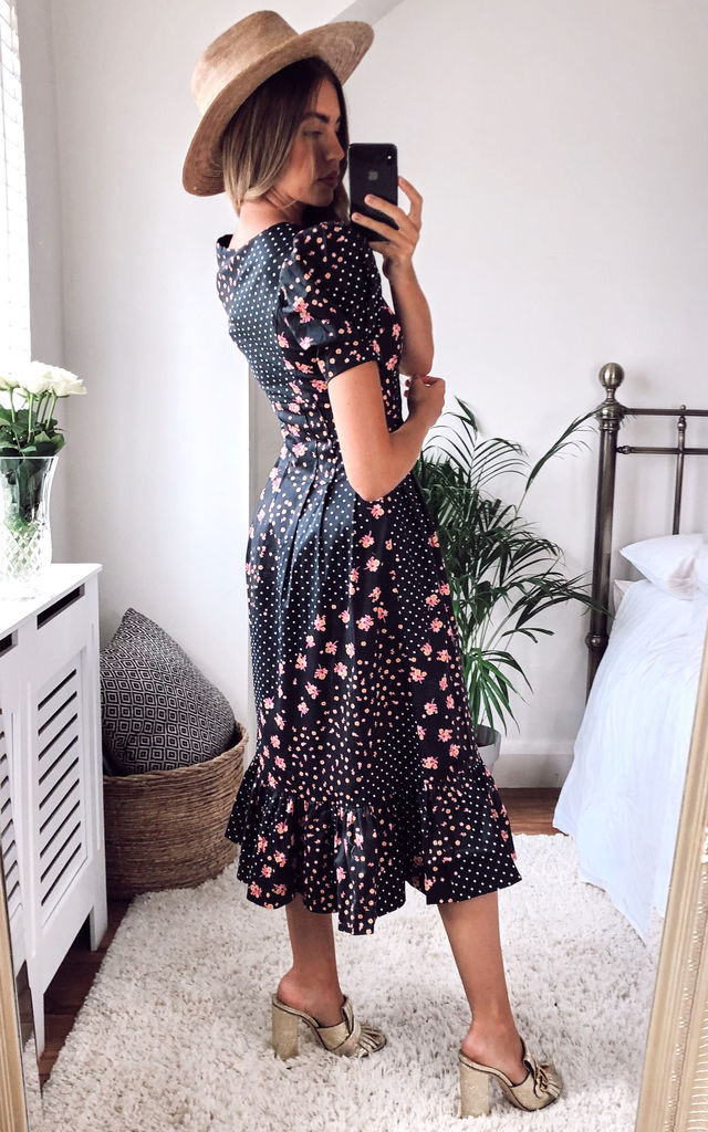 Camellia Midi Dress in Black And Pink Floral / Dot Print by For Love And Lemons