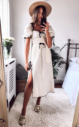 Eden Midi Dress With Puff Sleeves In Black And White Heart Print by For Love And Lemons Product photo