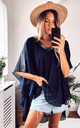 Oversized V Neck Floaty Top with Diamante Detail in Navy by Malissa J Collection