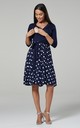 Maternity Skater Dress in Navy Large Dots 525 by Chelsea Clark