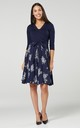 Maternity Skater Dress in Navy and White Flowers 525 by Chelsea Clark