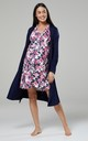 Navy Floral Print Maternity Hospital Set | Robe Nightie & Bag by Chelsea Clark