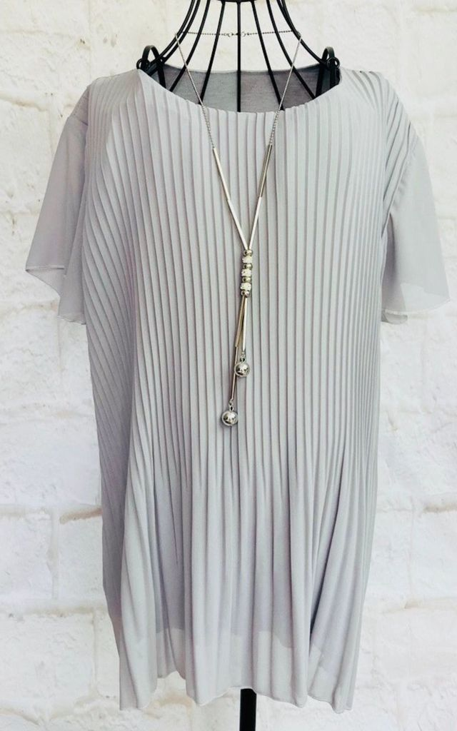 Pleated Floaty Top with Necklace in Grey by Pink Lemonade Boutique