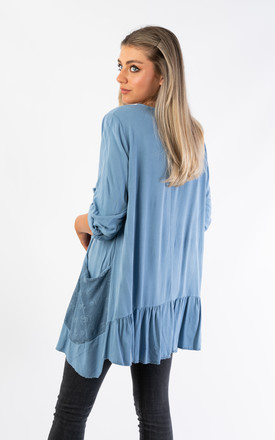 OVERSIZED TOP WITH MESH POCKETS (BLUE) by Lucy Sparks