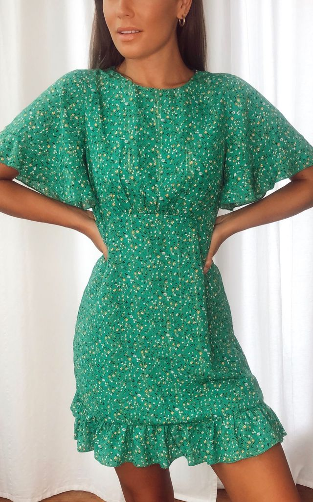 Leo Angel Sleeve Frill Mini Dress Green by Girl In Mind