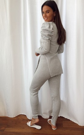 Ivy V Neck Ribbed Loungewear Set Grey by Girl In Mind