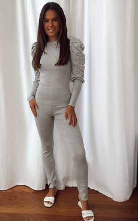 Piper Ribbed Loungewear Set Grey by Girl In Mind