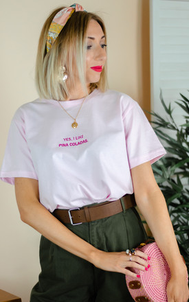 Embroidered Yes I Like Pina Colada Slogan Tshirt by Rock On Ruby