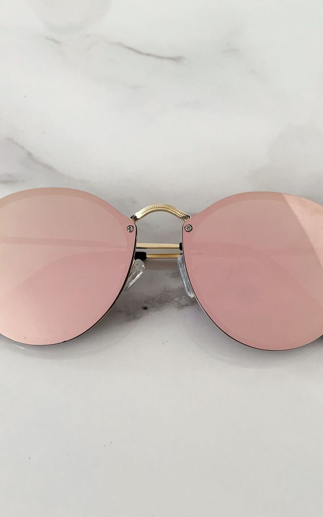 Pink Aviator Mirror Lens Sunglasses by Fifi & Bel