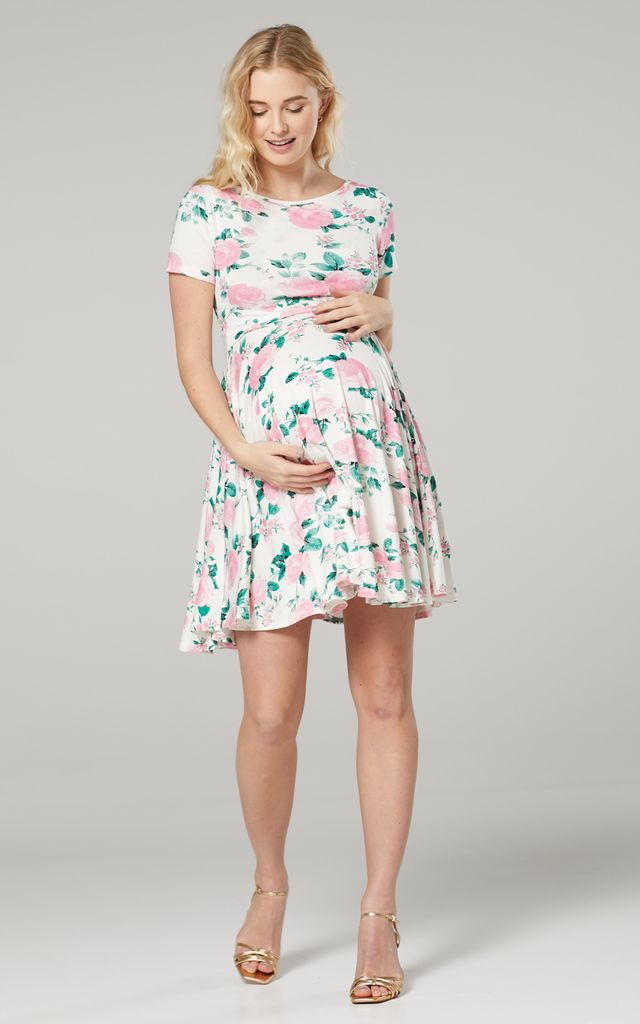 Maternity & Nursing Swing Dress in Off White Floral Print by Chelsea Clark