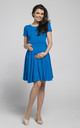 Maternity & Nursing Swing Dress in Cyan by Chelsea Clark