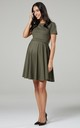 Maternity & Nursing Swing Dress in Khaki by Chelsea Clark