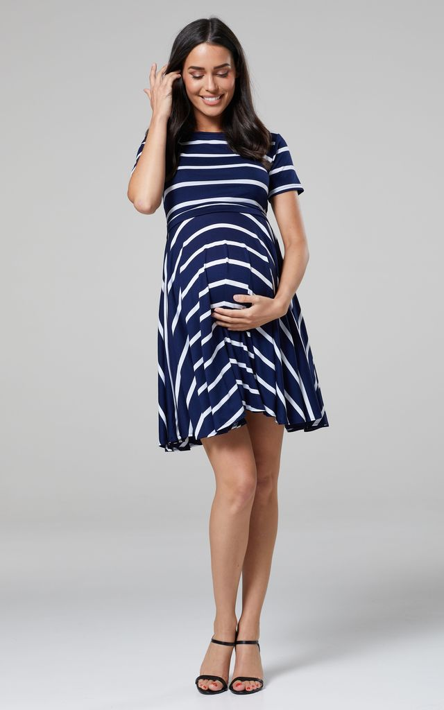 Maternity & Nursing Swing Dress in Navy with Stripes by Chelsea Clark