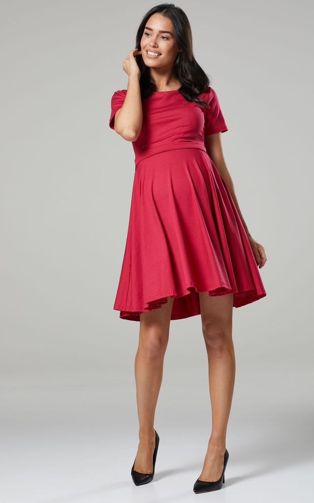 Maternity & Nursing Swing Dress in Raspberry Color by Chelsea Clark