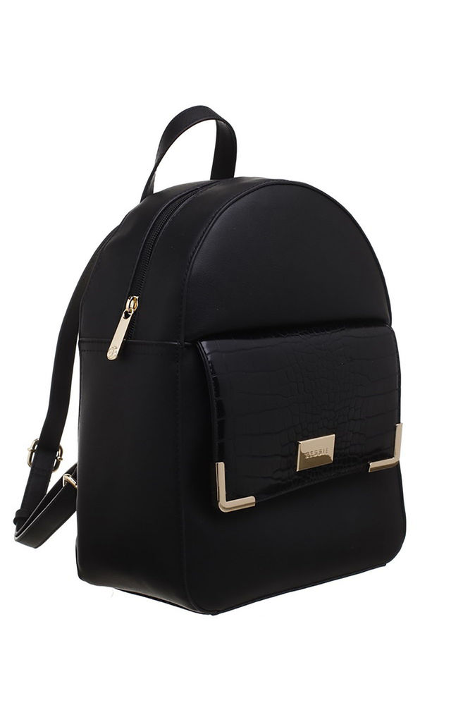 CROC PRINT FRONT POCKET BACKPACK BLACK by BESSIE LONDON