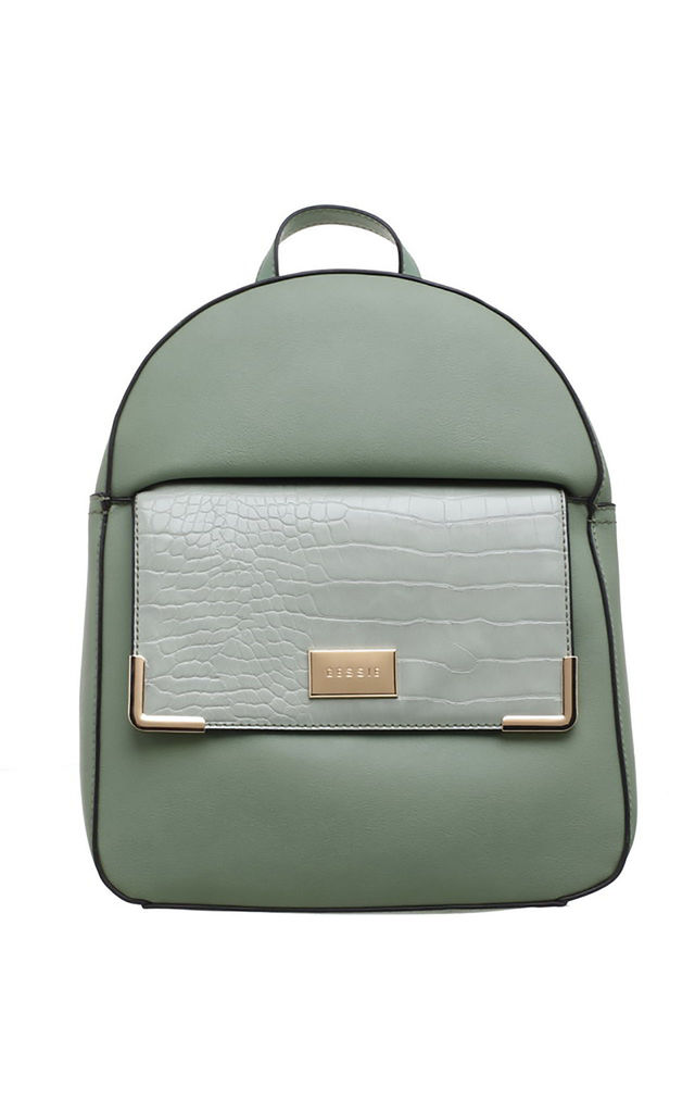 CROC PRINT FRONT POCKET BACKPACK GREEN by BESSIE LONDON