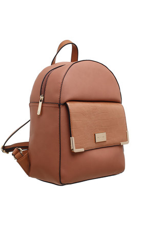 CROC PRINT FRONT POCKET BACKPACK PEACH by BESSIE LONDON