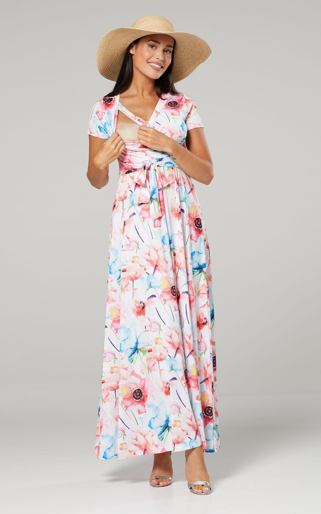Maternity & Nursing Maxi Dress in Pink Floral Print by Chelsea Clark