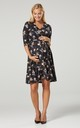Nursing & Maternity Jersey Dress in Black & Cream Rose Print 609 by Chelsea Clark