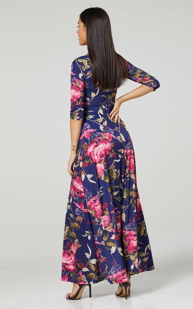 Maternity & Nursing navy Layered Maxi Dress in Navy and Flower Print 608 by Chelsea Clark