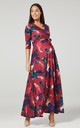 Maternity & Nursing navy Layered Maxi Dress in Vine Red and Print 608 by Chelsea Clark