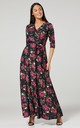 Maternity & Nursing navy Layered Maxi Dress Pink Flower Print 608 by Chelsea Clark