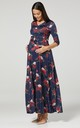Maternity & Nursing Maxi Dress Dark Blue with Flowers 608 by Chelsea Clark