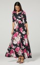 Maternity & Nursing Maxi Dress Navy Blue with Pink Roses 3/4  Sleeves 608 by Chelsea Clark