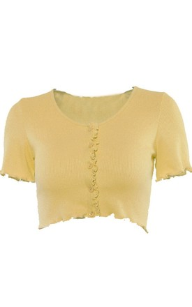 V Neck Ribbed Frill Front Button Crop Top Yellow by LILY LULU FASHION