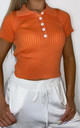 Knitted Collared Crop Top Orange by LILY LULU FASHION