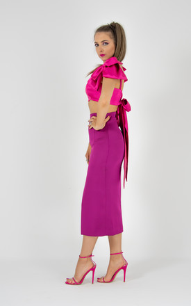 Purple Satin High-Rise Front Slit Pencil Midi Skirt by Tia Dorraine London