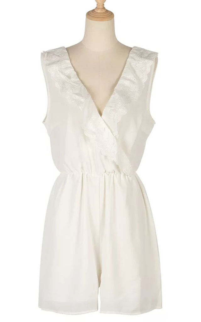 Broiderie Anglaise Fill Summer Playsuit In White by FS Collection