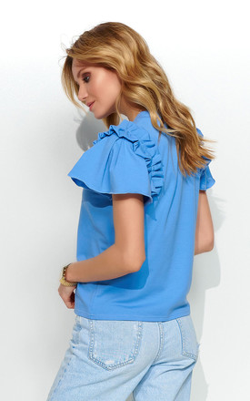Comfy Top with Decorative Patch in Blue by Makadamia