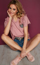 Comfy Top with Decorative Patch in Pink by Makadamia