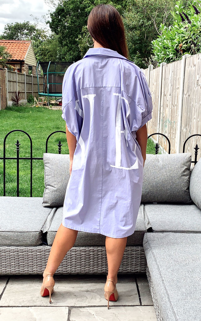 Oversized LOVE Batwinged Shirt Dress in Purple by Gini London