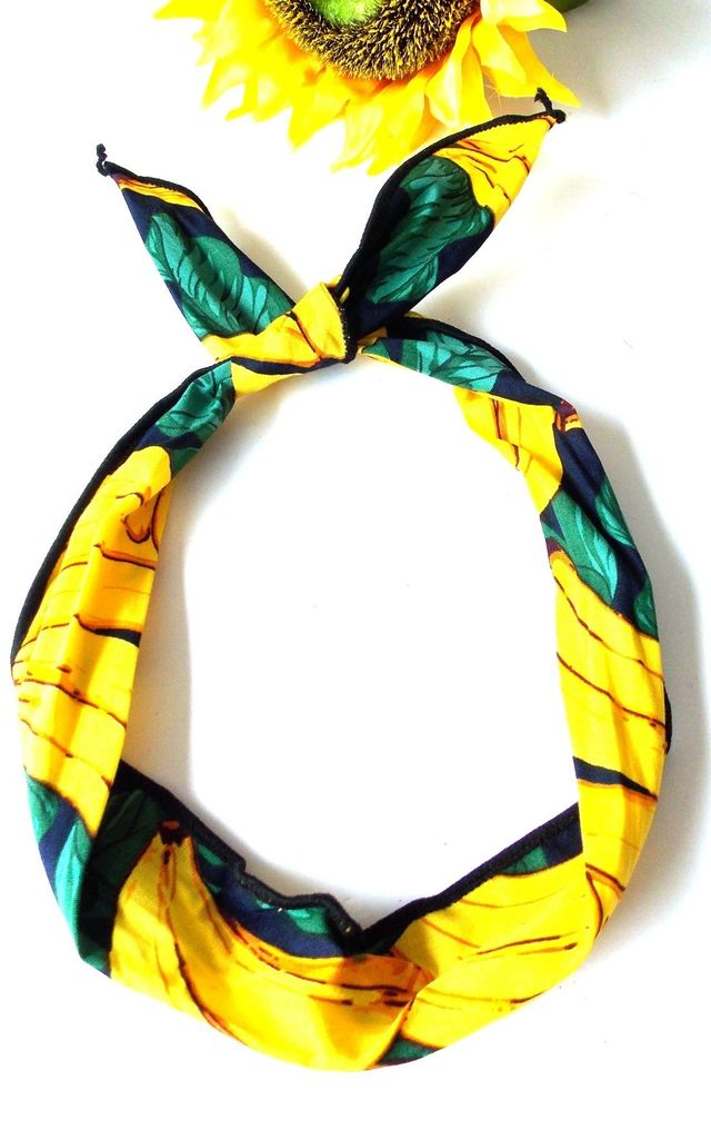 Yellow Banana Print Wire Head Band by Olivia Divine Jewellery