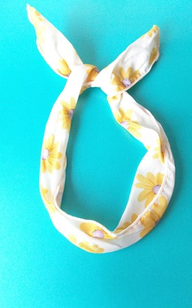 White Daisy Print Bunny Ears Wire Head Band by Olivia Divine Jewellery